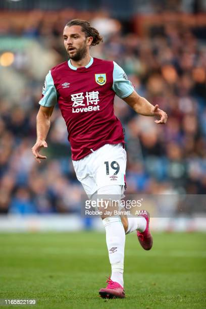 Jay Rodriguez of Burnley during the Premier League match between Burnley FC and Liverpool FC at Turf Moor on August 31 2019 in Burnley United Kingdom