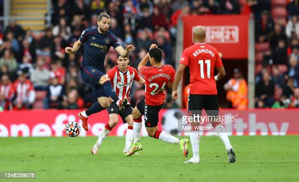 Jay Rodriguez of Burnley fouls Mohamed Elyounoussi of Southampton during the Premier League match between Southampton and Burnley at St Mary's...