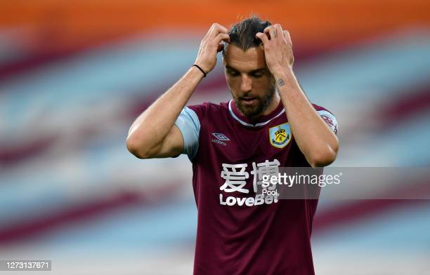 Jay Rodriguez of Burnley reacts during the Carabao Cup second round match between Burnley and Sheffield United at Turf Moor on September 17 2020 in...