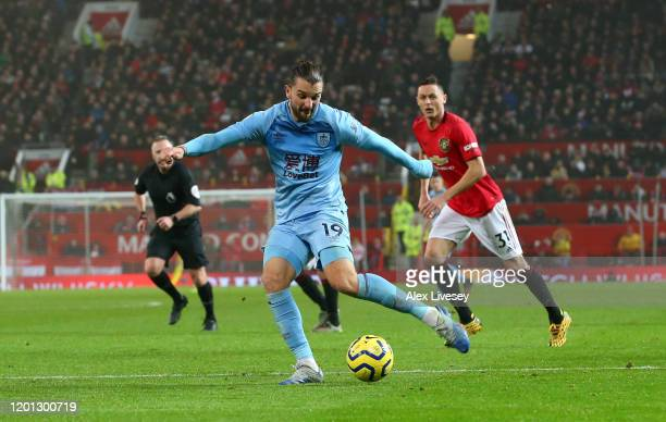 Jay Rodriguez of Burnley scores his team's second goal during the Premier League match between Manchester United and Burnley FC at Old Trafford on...