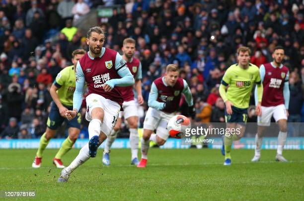 Jay Rodriguez of Burnley scores his team's second goal from the penalty spot during the Premier League match between Burnley FC and AFC Bournemouth...