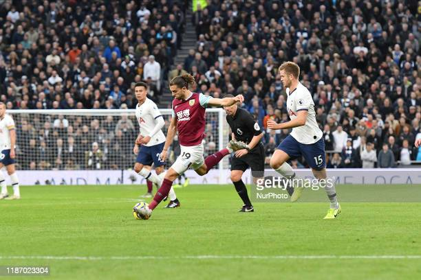 Jay Rodriguez of Burnley shoots at goal during the Premier League match between Tottenham Hotspur and Burnley at White Hart Lane London on Saturday...
