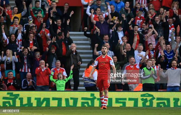 Jay Rodriguez of Southampton celebrates after scoring his team's fourth goal during the Barclays Premier League match between Southampton and...