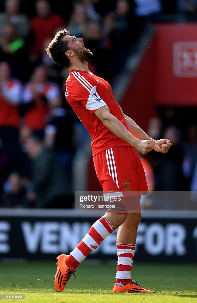 Jay Rodriguez of Southampton celebrates after scoring the opening goal during the Barclays Premier League match between Southampton and Newcastle United at St Mary's Stadium on March 29, 2014 in Southampton, England.