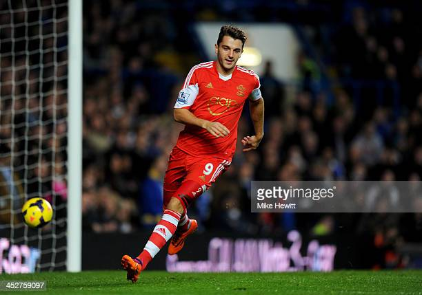 Jay Rodriguez of Southampton celebrates as he scores their first goal in the first minute during the Barclays Premier League match between Chelsea...