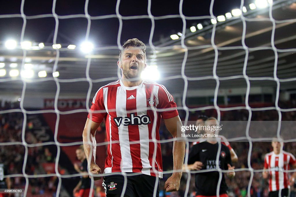 Jay Rodriguez of Southampton celebrates scoring a goal from the penalty spot during the UEFA Europa League Play Off Round 1st Leg match between Southampton and FC Midtjylland at St Mary's Stadium on August 20, 2015 in Southampton, England.