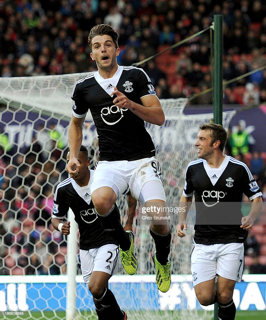 Jay Rodriguez of Southampton celebrates scoring his side's first goal during the Barclays Premier League match between Stoke City and Southampton on November 02, 2013 in Stoke on Trent, England.