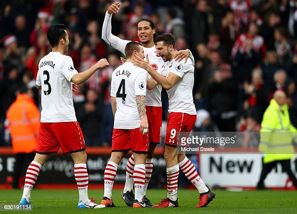 Jay Rodriguez of Southampton celebrates scoring his sides second goal with Jordy Clasie of Southampton Virgil van Dijk of Southampton and Maya...