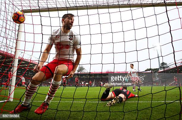 Jay Rodriguez of Southampton celebrates scoring his sides second goal during the Premier League match between AFC Bournemouth and Southampton at...
