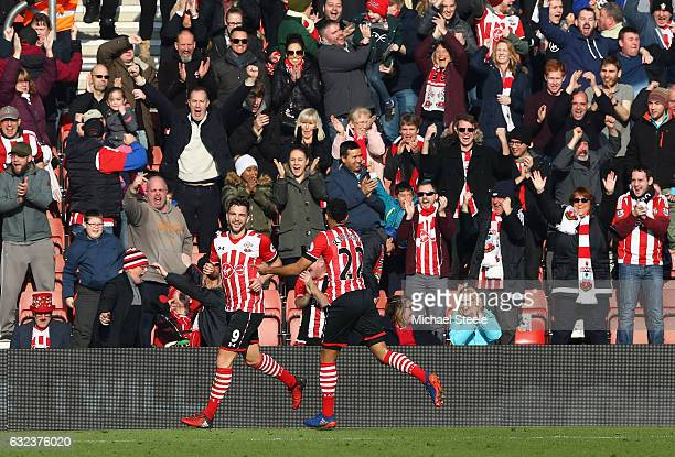 Jay Rodriguez of Southampton celebrates scoring his side's second goal during the Premier League match between Southampton and Leicester City at St...