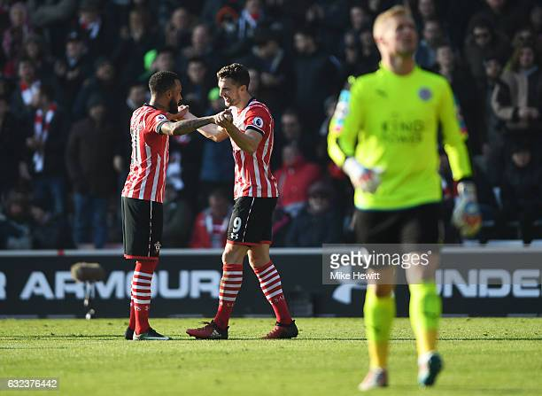 Jay Rodriguez of Southampton celebrates scoring his team's second goal wit his team mate Ryan Bertrand during the Premier League match between...