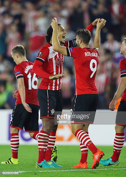 Jay Rodriguez of Southampton celebrates with Virgil van Dijk after scoring their third during the UEFA Europa League Group K match between...