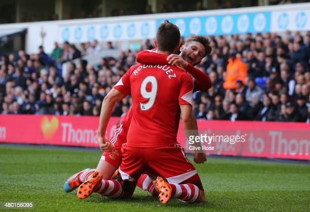 Jay Rodriguez of Southampton is congratulated by Adam Lallana of Southampton after scoring the opening goal during the Barclays Premier League match...