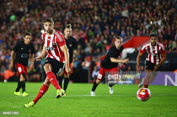 Jay Rodriguez of Southampton scores from the penalty spot during the UEFA Europa League Play Off Round 1st Leg match between Southampton and...