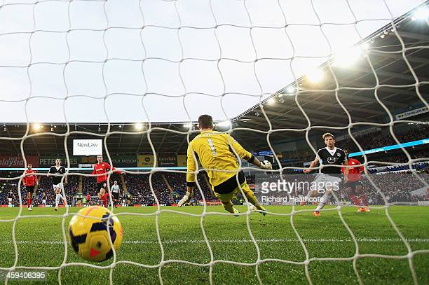 Jay Rodriguez of Southampton scores his second goal during the Barclays Premier League match between Cardiff City and Southampton at Cardiff City...