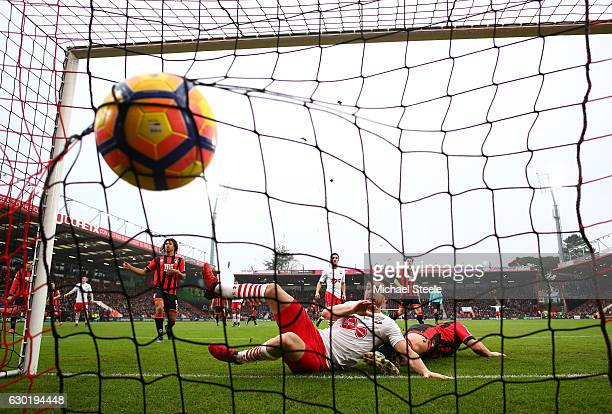 Jay Rodriguez of Southampton scores his sides second goal during the Premier League match between AFC Bournemouth and Southampton at Vitality Stadium...