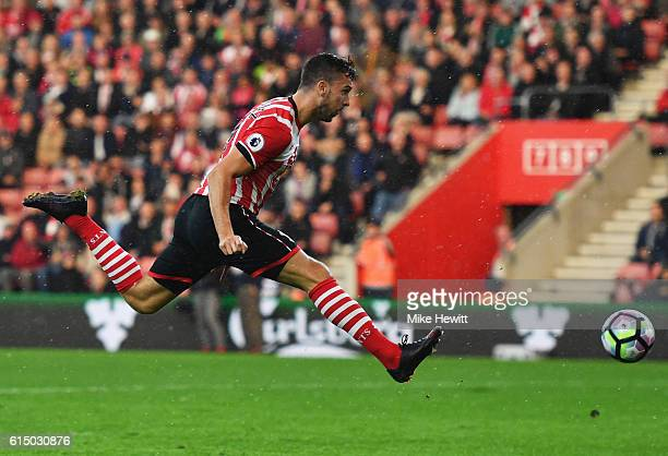 Jay Rodriguez of Southampton shoots during the Premier League match between Southampton and Burnley at St Mary's Stadium on October 16 2016 in...