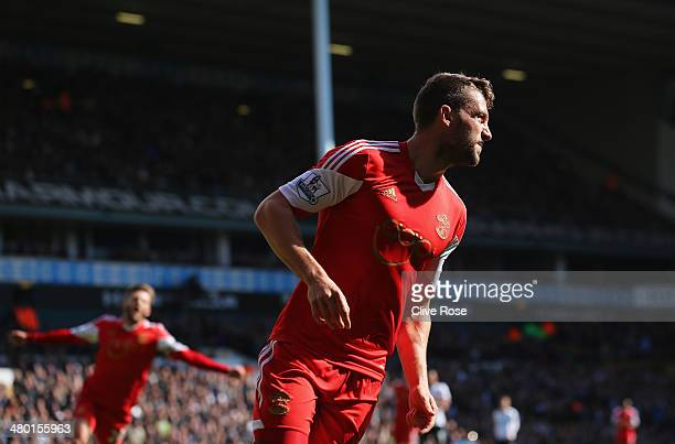 Jay Rodriguez of Southampton turns away after scoring the opening goal during the Barclays Premier League match between Tottenham Hotspur and...