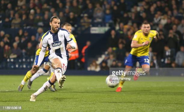 Jay Rodriguez of WBA scores their 2nd goal from the penalty spot during the Sky Bet Championship match between West Bromwich Albion and Birmingham...