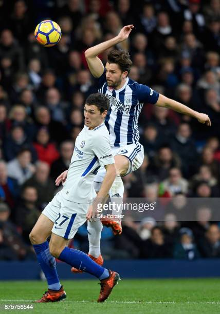 Jay Rodriguez of West Bromwich Albion and Andreas Christensen of Chelsea compete for the ball during the Premier League match between West Bromwich...