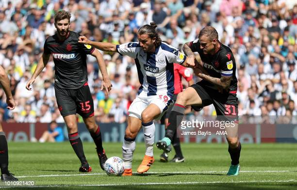 Jay Rodriguez of West Bromwich Albion and David Wheater of Bolton Wanderers during the Sky Bet Championship match between West Bromwich Albion and...