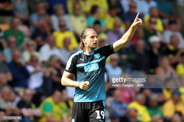 Jay Rodriguez of West Bromwich Albion celebrates after scoring a goal to make it 12 during the Sky Bet Championship match between Norwich City and...