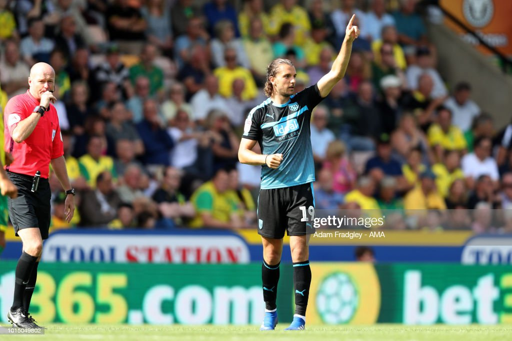 Jay Rodriguez of West Bromwich Albion celebrates after scoring a goal to make it 1-2 during the Sky Bet Championship match between Norwich City and West Bromwich Albion at Carrow Road on August 11, 2018 in Norwich, England.