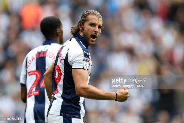 Jay Rodriguez of West Bromwich Albion celebrates after scoring a goal to make it 3-1 from the penalty spot during the Sky Bet Championship match...