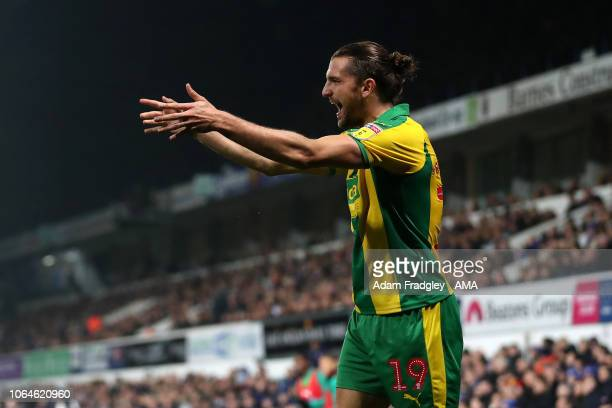 Jay Rodriguez of West Bromwich Albion celebrates after scoring a goal to make it 01 during the Sky Bet Championship match between Ipswich Town and...