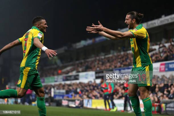 Jay Rodriguez of West Bromwich Albion celebrates after scoring a goal to make it 0-1 with Kieran Gibbs during the Sky Bet Championship match between...