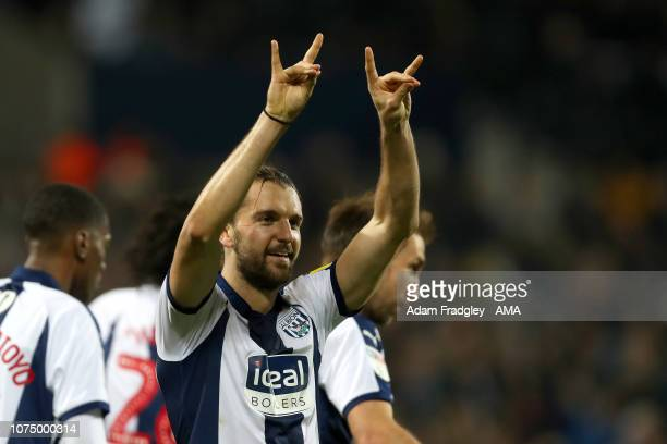 Jay Rodriguez of West Bromwich Albion celebrates after scoring a goal to make it 20 during the Sky Bet Championship match between West Bromwich...