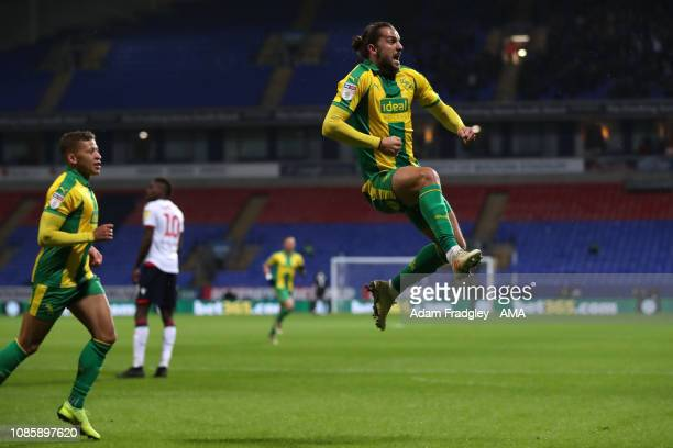 Jay Rodriguez of West Bromwich Albion celebrates after scoring a goal to make it 01 during the Sky Bet Championship match between Bolton Wanderers...