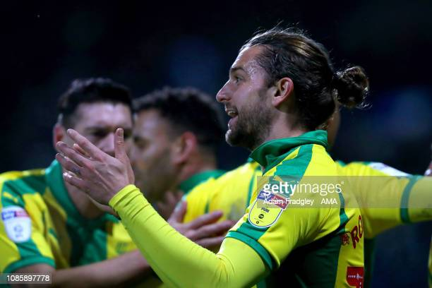 Jay Rodriguez of West Bromwich Albion celebrates after scoring a goal to make it 0-1 during the Sky Bet Championship match between Bolton Wanderers...