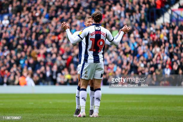 Jay Rodriguez of West Bromwich Albion celebrates after scoring a goal to make it 3-0 during the Sky Bet Championship match between West Bromwich...