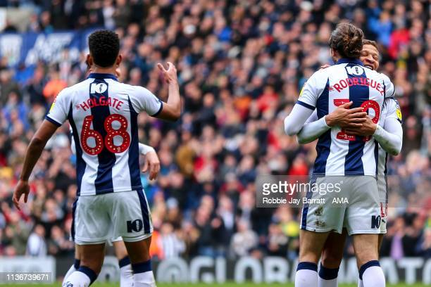 Jay Rodriguez of West Bromwich Albion celebrates after scoring a goal to make it 30 during the Sky Bet Championship match between West Bromwich...