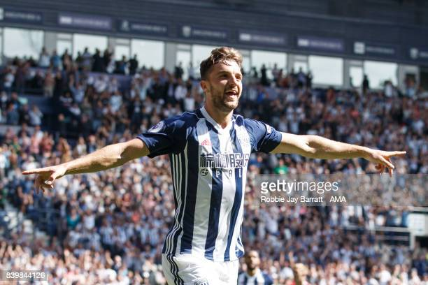 Jay Rodriguez of West Bromwich Albion celebrates after scoring a goal to make it 10 during the Premier League match between West Bromwich Albion and...