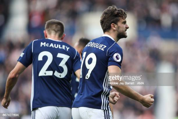Jay Rodriguez of West Bromwich Albion celebrates after scoring a goal to make it 11 during the Premier League match between West Bromwich Albion and...