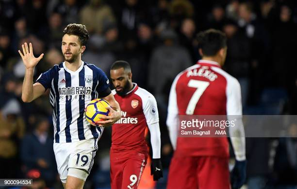 Jay Rodriguez of West Bromwich Albion celebrates after scoring a goal to make it 11 from a penalty kick during the Premier League match between West...
