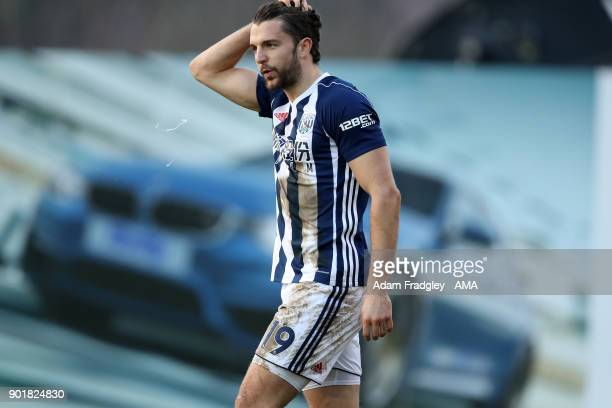 Jay Rodriguez of West Bromwich Albion celebrates after scoring a goal to make it 02 during to the The Emirates FA Cup Third Round match between...