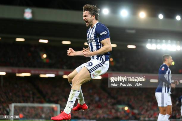 Jay Rodriguez of West Bromwich Albion celebrates after scoring a goal to make it 12 during the The Emirates FA Cup Fourth Round match between...