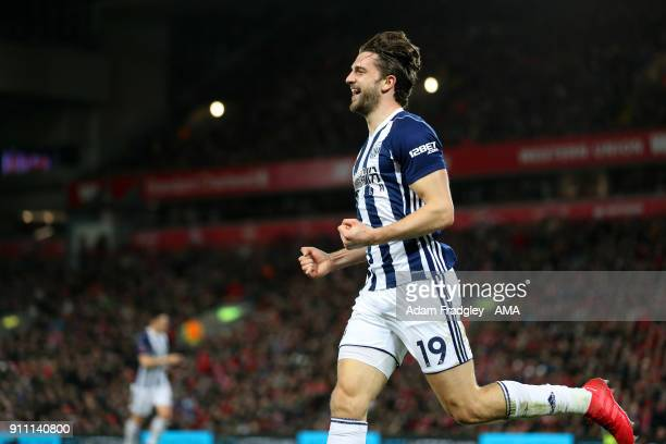 Jay Rodriguez of West Bromwich Albion celebrates after scoring a goal to make it 11 during the The Emirates FA Cup Fourth Round match between...