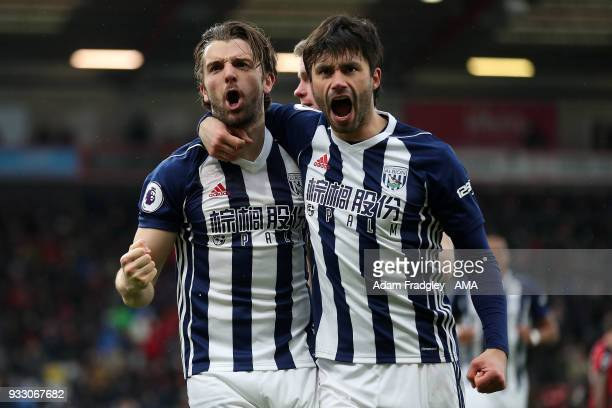 Jay Rodriguez of West Bromwich Albion celebrates after scoring a goal to make it 01 with Claudio Yacob of West Bromwich Albion during the Premier...