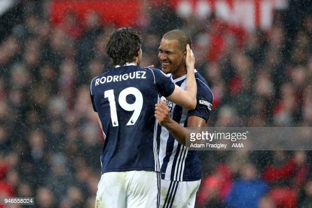 Jay Rodriguez of West Bromwich Albion celebrates after scoring a goal to make it 10 during the Premier League match between Manchester United and...