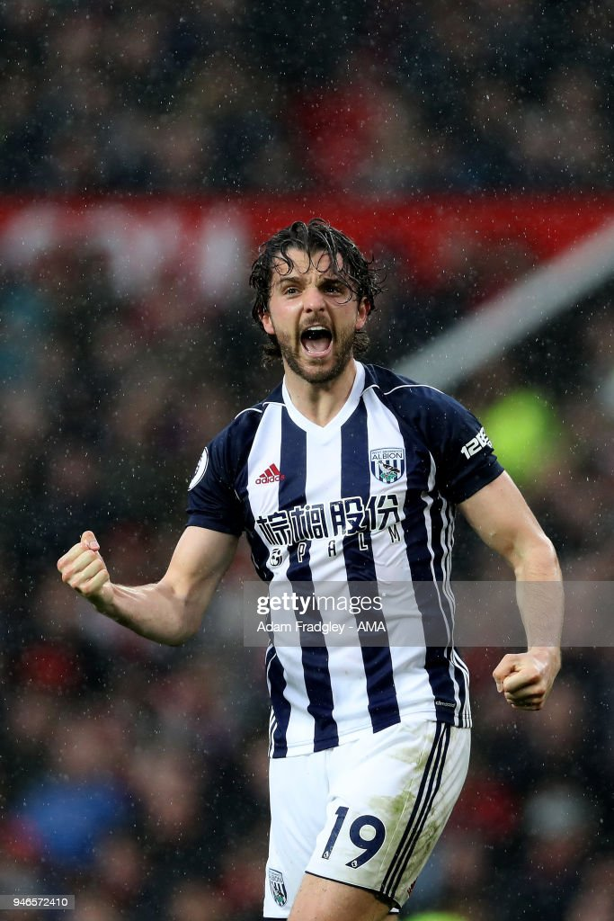 Jay Rodriguez of West Bromwich Albion celebrates after scoring a goal to make it 0-1 during the Premier League match between Manchester United and West Bromwich Albion at Old Trafford on April 15, 2018 in Manchester, England.