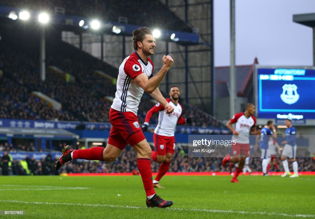 Jay Rodriguez of West Bromwich Albion celebrates after scoring his sides first goal during the Premier League match between Everton and West Bromwich Albion at Goodison Park on January 20, 2018 in Liverpool, England.