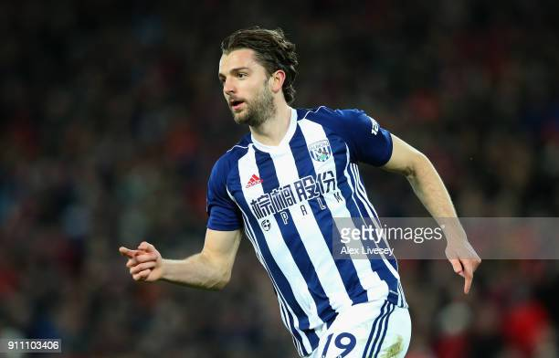 Jay Rodriguez of West Bromwich Albion celebrates after scoring his sides first goal during The Emirates FA Cup Fourth Round match between Liverpool...