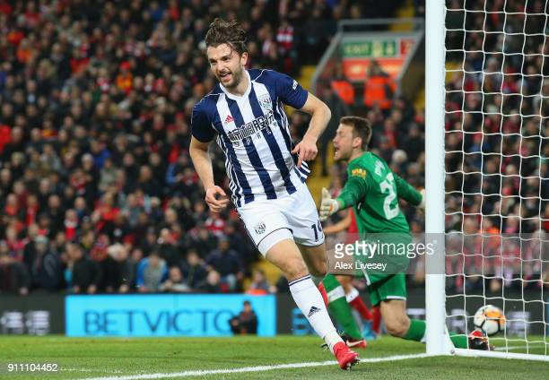 Jay Rodriguez of West Bromwich Albion celebrates after scoring his sides second goal during The Emirates FA Cup Fourth Round match between Liverpool...