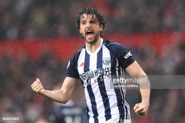 Jay Rodriguez of West Bromwich Albion celebrates after scoring his sides first goal during the Premier League match between Manchester United and...