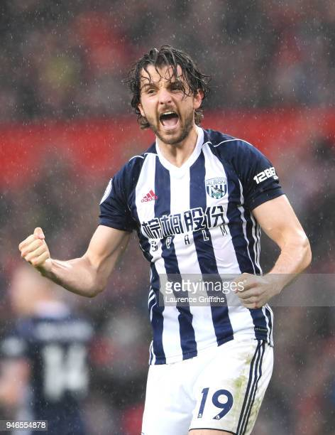 Jay Rodriguez of West Bromwich Albion celebrates after scoring his sides first goal with his team mates during the Premier League match between...