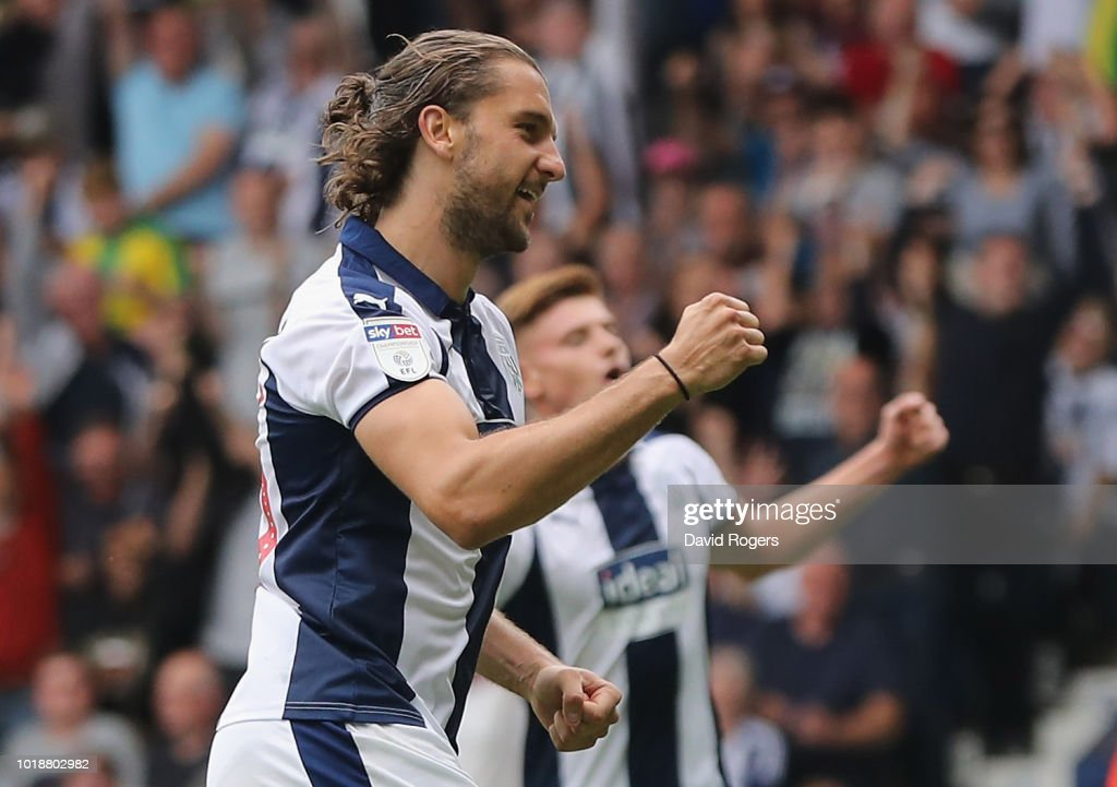 Jay Rodriguez of West Bromwich Albion celebrates after scoring their third goal in a 7-1 victory during the Sky Bet Championship match between West Bromwich Albion and Queens Park Rangers at The Hawthorns on August 18, 2018 in West Bromwich, England.